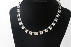 Antique Art Deco Sterling Crystal Riviere Necklace, 1920s Sparkly Gatsby Something Old Wedding