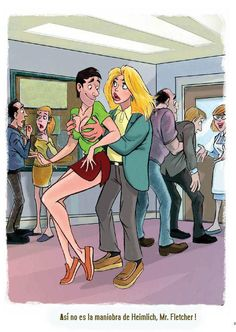Dean Yeagle - - That's NOT the Heimlich Maneuver, Mister Fletcher ! Tg Tf, Funny Cartoon Pictures, Body Swap, Female Transformation, Photoshop Images, Sexy Drawings, Roller Set, Transgender Girls, Comics Girls