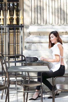 Nicole Warne in Marques'Almeida top, J Brand jeans, Chanel bag, Paul Andrew flats, - In Paris.  (October 2015)