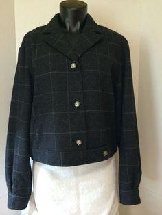 Ralph Lauren Womens Size 12 Wool Plaid Dark Gray Pea Coat Career Jacket Coat #RalphLauren #Blazer