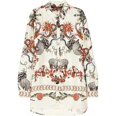 Roberto Cavalli Printed silk satin-twill shirt ($1,320) ❤ liked on Polyvore