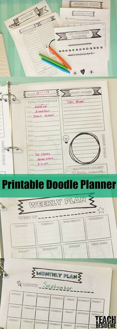 Printable Planner Pages with a Fun Doodle Theme- Coloring and organization combined! Great for kids learning to plan or Moms who love doodling!