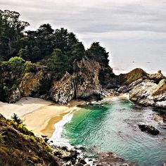 McWay Falls. A tidefall on a secluded beach in Big Sur, California