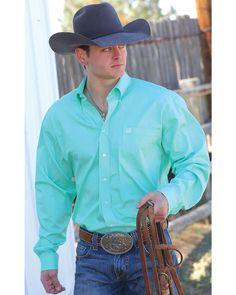 Cinch Men's Green Button Long Sleeve Shirt, Green Pfg Shirts, Old T Shirts, Plain Shirts, Cowboy Outfits, Men's Outfits, Casual Work Wear, Torn Jeans, Latest Mens Fashion, Men's Fashion