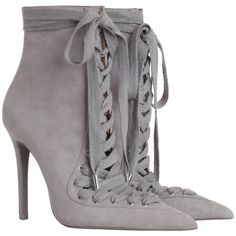 ZIMMERMANN Lace Up Ankle Boot (1 310 AUD) ❤ liked on Polyvore featuring shoes, boots, ankle booties, ankle boots, lace up ankle boots, short leather boots, pointed toe booties, lace up high heel booties and lace up bootie