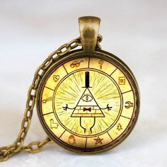 Vintage Drama Gravity Falls Mysteries Bill Cipher Wheel Necklace - 50% Off