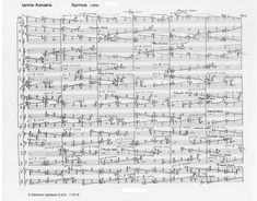 Page from score of Music for Strings Syrmos, by Iannis Xenakis, 1959