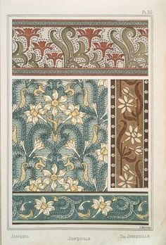 Eugène Grasset (Swiss, 1841-1917). La plante et ses applications ornementales. Jonquil. Pl. 30. 1896.