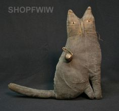 "9.5"" Hand-Made Primitive Grungy Black Cat Doll #NaivePrimitive"