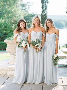 Chiffon Bridesmaid Dresses in Dove Grey From Shop Revelry! It's hard to top … Chiffon Bridesmaid Dresses in Dove Grey Pale Blue Bridesmaid Dresses, Different Bridesmaid Dresses, Cheap Bridesmaid Dresses Online, Grey Bridesmaids, Wedding Bridesmaid Dresses, Princess Wedding Dresses, Wedding Gowns, Bridesmaid Tops, Bridesmaid Color