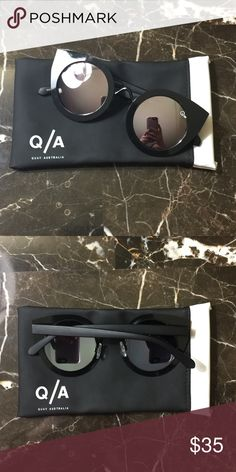 Quay Tainted Love 100% Authentic. Worn once. No scratches or signs of wear. Features black metal frame with lavender polycarbonate lenses. 100% UV protection. Soft case in picture included. Quay Australia Accessories Sunglasses