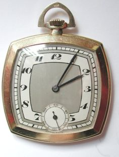 Very unusual art-deco, 9 carat gold cushion shaped pocket watch,The watch consisting of original untouched 2 tone silvered art-deco style dial, with subsidiary seconds dial at 6 o'clock, black Arabic numeral hour markers, blued steel hands, the 16 jewel Marvin movement adjusted to 3 positions, with Breguet hair spring. 9 carat gold 3 piece case hallmarked for 1936.