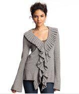 V ruffle sweater
