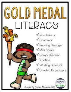 This file is jam-packed full of literacy resources for you to use to teach about the summer Olympics.  You'll find vocabulary, grammar, reading comprehension, graphic organizers, a game, and writing prompts.  The resources are specific to the summer Olympics and include references to the 2016 Games in Rio de Janeiro.