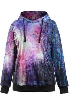 Purple+Printed+Pocket+Accent+Hooded+Sweatshirt+#Purple+#Sweatshirt+#maykool