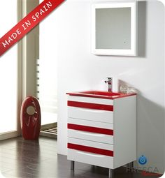 "Fresca Platinum Giocco 24"" Glossy White/Red Modern Bathroom Vanity"