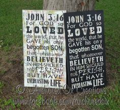 John 3:16 Hand painted Wooden Signs. One of our top sellers, especially these color combos!    John 3:16