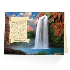 Si uno de tus allegados ha sufrido la perdida de un ser querido, esta tarjeta postal de consuelo con mensaje biblico de seguro renovara su espiritu. Basada en Revelacion 21:4 que dice: 'Y limpiara toda lagrima de sus ojos, y la muerte no sera mas'.