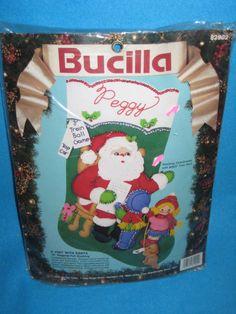 "Bucilla A Visit With Santa 18"" Diagonal Felt Stocking Kit 82902  #Bucilla"