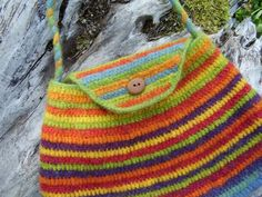 Striped Crocheted Bag PurseFeltedRainbow Colours by KensaWool, €32.00