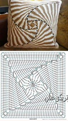 Best 12 Pattern Square Triangle Granny Square Pattern – Knitting and Crochet – SkillOfKing. Crochet Bedspread Pattern, Crochet Square Patterns, Crochet Motifs, Crochet Diagram, Crochet Stitches Patterns, Crochet Chart, Crochet Granny, Afghan Patterns, Crochet Squares