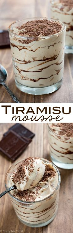 Tiramisu Mousse - an easy no-bake dessert! Layers of tiramisu whipped cream and ., Desserts, Tiramisu Mousse - an easy no-bake dessert! Layers of tiramisu whipped cream and cocoa powder for the best part of the tiramisu! Easy No Bake Desserts, Delicious Desserts, Dessert Recipes, Yummy Food, Desserts Diy, Delicious Chocolate, Holiday Desserts, Healthy Desserts, French Desserts
