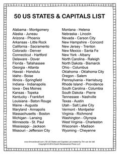 printable states and capitals list social studies study