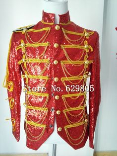New Fashion Men Red Sequins Tassels Jacket Nightclub Bar Dj Rock Punk Man  Dj Singer Costumes Outerwear Personality Slim Clothing dd3f5b5c7bce