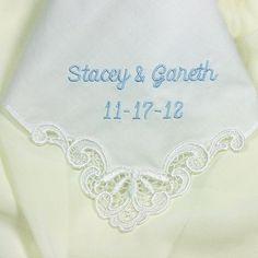 Personalized Wedding Handkerchief Something Blue for Bride Cotton 9102C on Etsy, $24.00