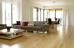 bamboo flooring - great colour, keeps room light and bright.