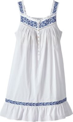 Eileen West Embroidered Navy Chemise: Inspired by the artistry of Delft blue antiques, Eileen West used deep navy embroidery in a floral scroll design and satin faggoting to create a feeling of classic romance.