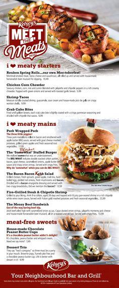 Kelseys menu - just for diner