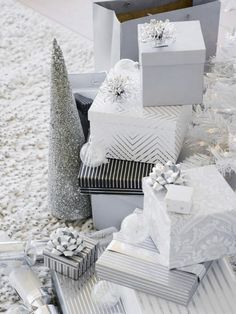 Silver and white wrapping papers