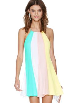 Multicolor Criss Cross Back Loose Dress 15.90