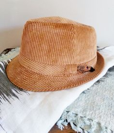 Vintage Camel Brown Corduroy Trilby/ Fedora with by thejadedorris