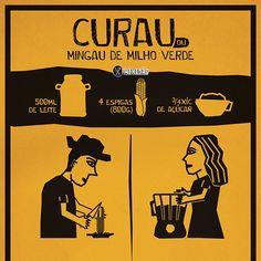 Infográfico receita de Curau (Mingau de milho). Receita para  festa junina é muito fácil de preparar. Ingredientes: milho, açúcar e leite.