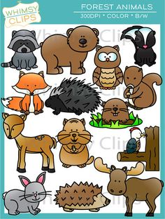 The Forest Animal clip art set contains 28 image files, which includes 14 color images and 14 black & white images in png. All images are 300dpi for better scaling and printing.