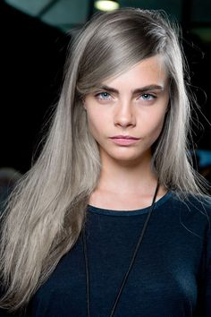 Intense silver blonde hair; this style and length is really close to mine right now; I might be able to pull this off