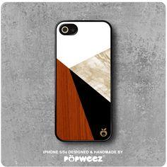 Coque iPhone 5 / 5S / SE Géométrique Marbre Bois par POPWEEZ