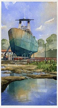 The Growler in Drydock by Iain Stewart Watercolor ~ 16 x 9
