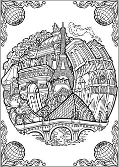 BLISS CITIES Coloring Book: Your Passport to Calm by: David Bodo - Coloring Page 5