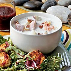 Terrific Soups and Stews   Salmon Chowder with Bacon   CoastalLiving.com  This creamy Salmon Chowder tastes as good as if served in a restaurant. The crumbled bacon on top adds extra crunch and flavor to the soup. We recommend Alaskan king or sockeye salmon. For extra flavor, try hot smoked salmon and skip the 1-minute cooking step.