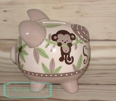 Monkey Jungle Personalized Piggy Bank in Tan, Green and Brown Personalized Piggy Bank, Personalized Gifts, Hand Painted Ceramics, Porcelain Ceramics, The Little Couple, Custom Items, Green And Brown, Baby Shower Gifts, Monkey