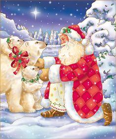 christmas time santa and polar bears Janet Skiles Christmas Scenes, Christmas Past, Father Christmas, Christmas Pictures, Vintage Christmas, Christmas Holidays, Christmas Crafts, Primitive Christmas, Country Christmas