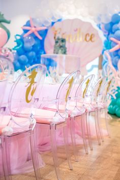 Girl Birthday Themes, 4th Birthday Parties, Birthday Ideas, Popular Birthdays, Mermaid Kisses, Under The Sea Party, The Little Mermaid, Balloons, Starfish