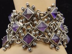 Bracelet |  Juan Sanchez.  Sterling silver and Amethysts.