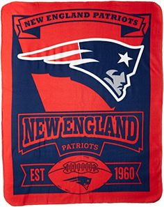 NFL New England Patriots Marque Printed Fleece Throw 50inch by 60inch >>> You can get additional details at the image link.
