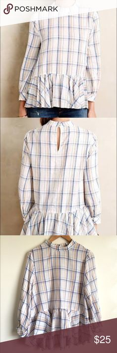 Maeve Anthropologie Sava Swing top plaid Super cute Maeve plaid top in great condition. Ruffle at bottom and slightly longer in back. Peephole back with two button closure. One small area where starting to pull. Shown in photo. Would go great with jeans. Ask any questions and make reasonable offers😊 Anthropologie Tops Blouses