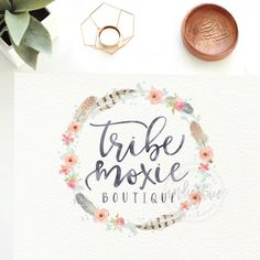 Custom Premade Logo Watercolor Wreath Logo  Feather by IndieGrace