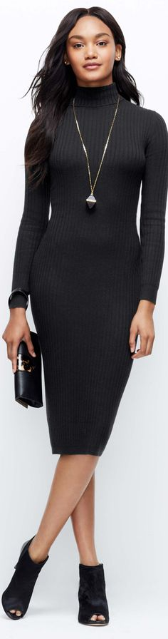 Ann Taylor: Ribbed Turtleneck Sweater Dress Cast in a fall's most sought-after shades, this ribbed turtleneck dress flatters with long and lean texture. Team with striking statement jewelry and peep toe booties for a seamlessly sophisticated look. Ribbed turtleneck. Long sleeves. 27″ from natural waist.